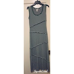 Maxi dress by Max Studio green and white stripped